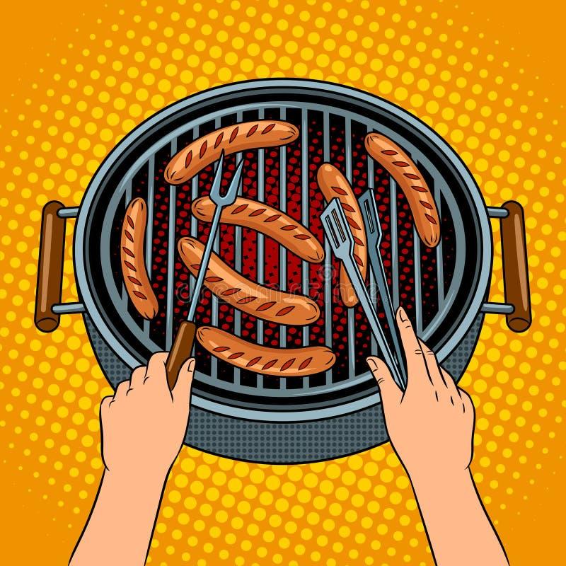 Ręki piec na grillu kiełbasy na grilla wystrzału sztuki wektorze ilustracji
