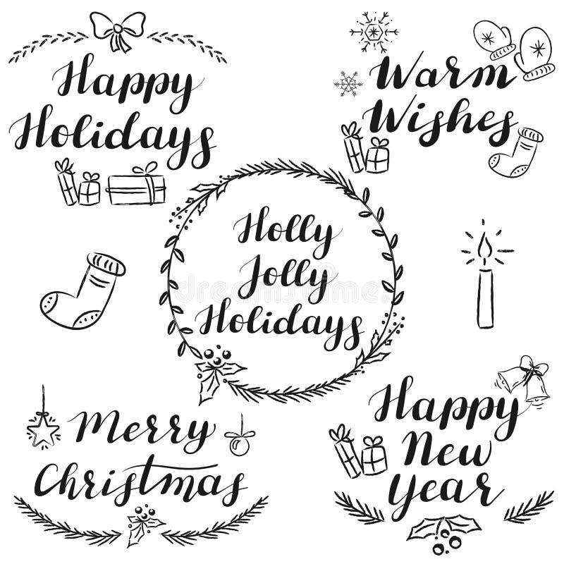 Ręki pisać bożych narodzeń i nowego roku życzenia ilustracja wektor