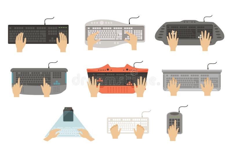 Ręki pisać na maszynie na klawiatura secie, różni typ komputerowej konsoli odgórnego widoku wektorowe ilustracje na białym tle royalty ilustracja