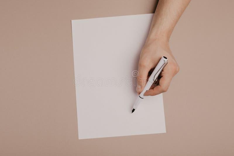 Ręki pisze na papierowym pustego miejsca a4 rozmiarze na popielatym tle obrazy stock