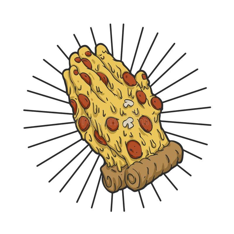 Ręki pizzy modlitwa ilustracja wektor