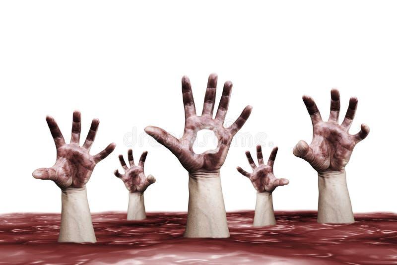 Ręki podnosi od morza krew z blaskiem obrazy royalty free