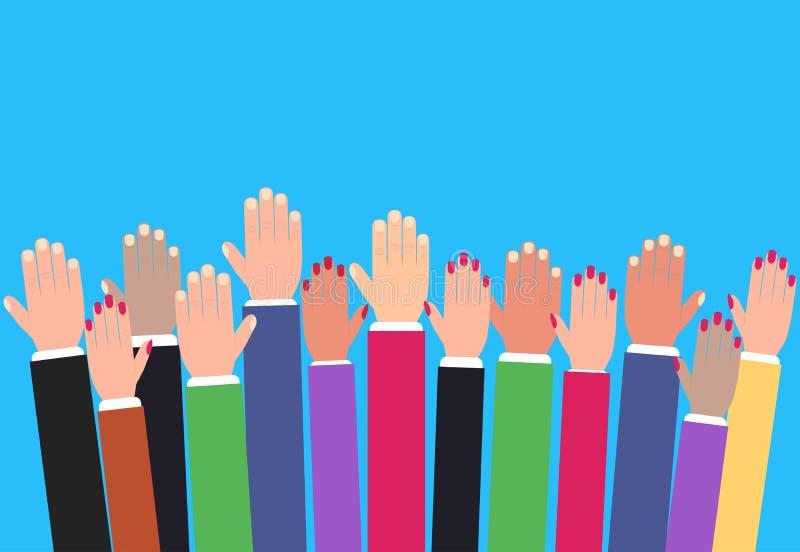 Ręki podnosi up, nastroszone kolorowe ręki, zgłaszać się na ochotnika wektor royalty ilustracja