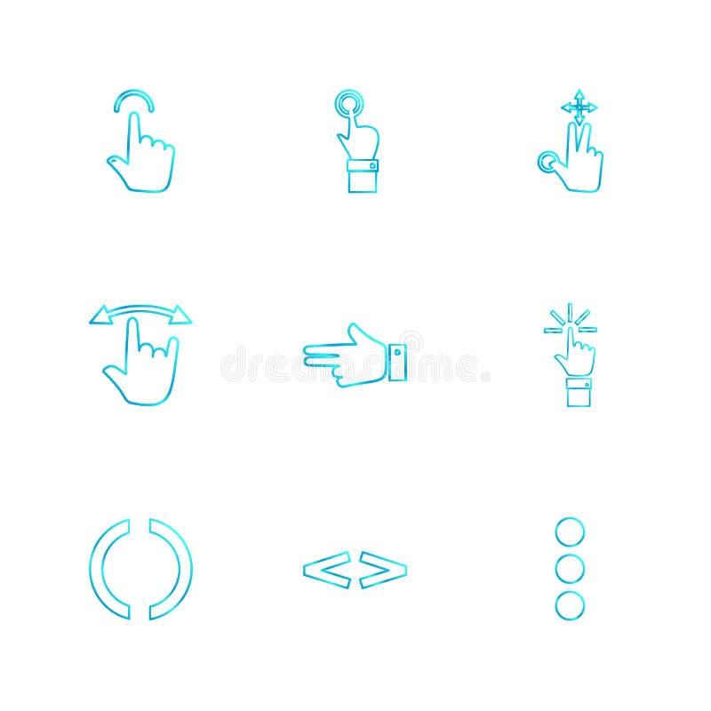 ręki, pointer, strzała, kierunki, eps ikony ustawiają wektor royalty ilustracja