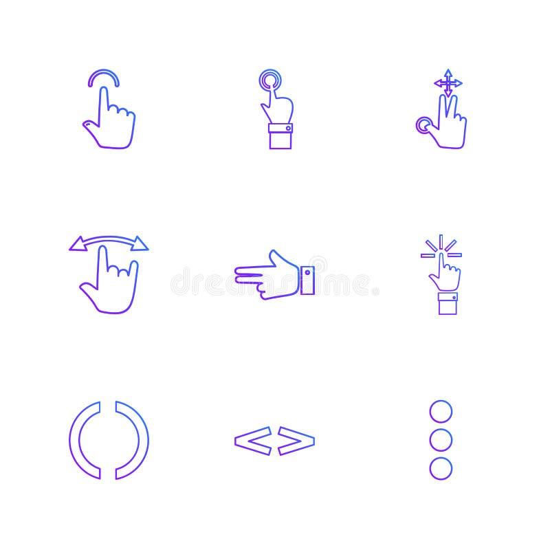 ręki, pointer, strzała, kierunki, eps ikony ustawiają wektor ilustracja wektor
