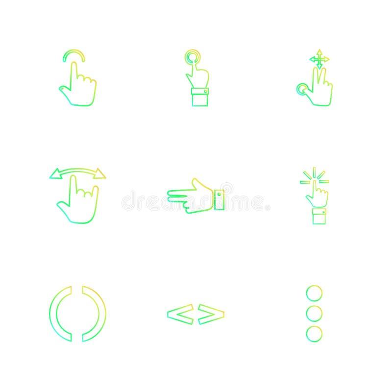 ręki, pointer, strzała, kierunki, eps ikony ustawiają wektor ilustracji