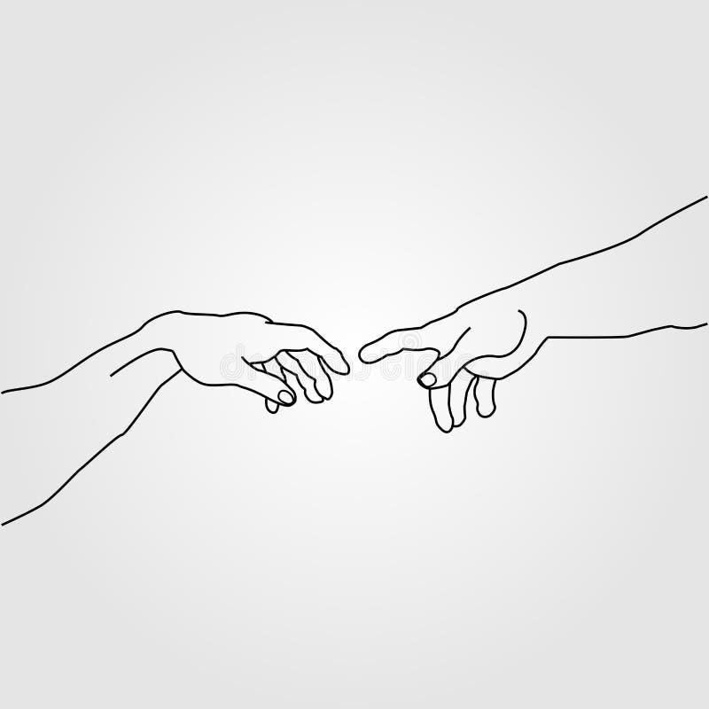 Ręki pokazuje tworzenie Adam royalty ilustracja