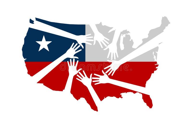 Ręki Pomaga Stany Zjednoczone wektoru ilustraci ilustracji