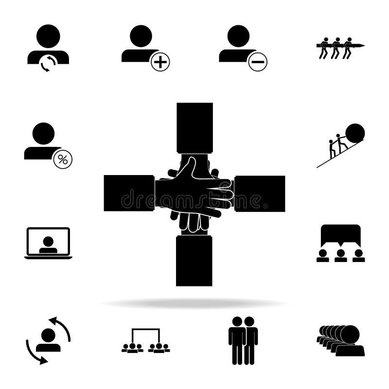 ręki pomocy ikona Prac zespołowych ikon ogólnoludzki ustawiający dla sieci i wiszącej ozdoby ilustracja wektor
