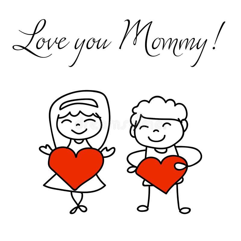 Ręki postać z kreskówki rysunkowego pojęcia matek szczęśliwy dzień royalty ilustracja