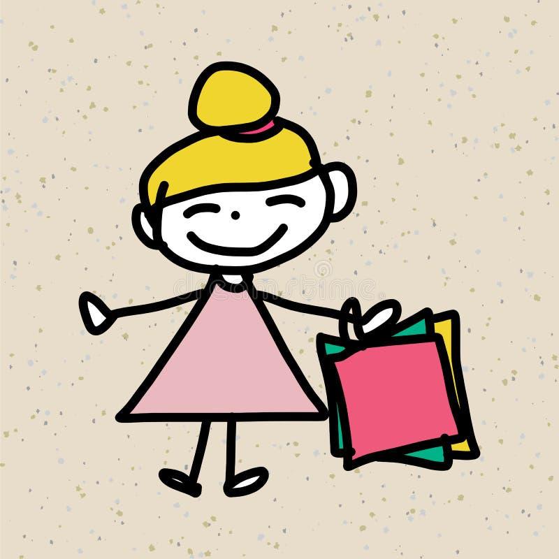 Ręki postać z kreskówki rysunkowy szczęście royalty ilustracja
