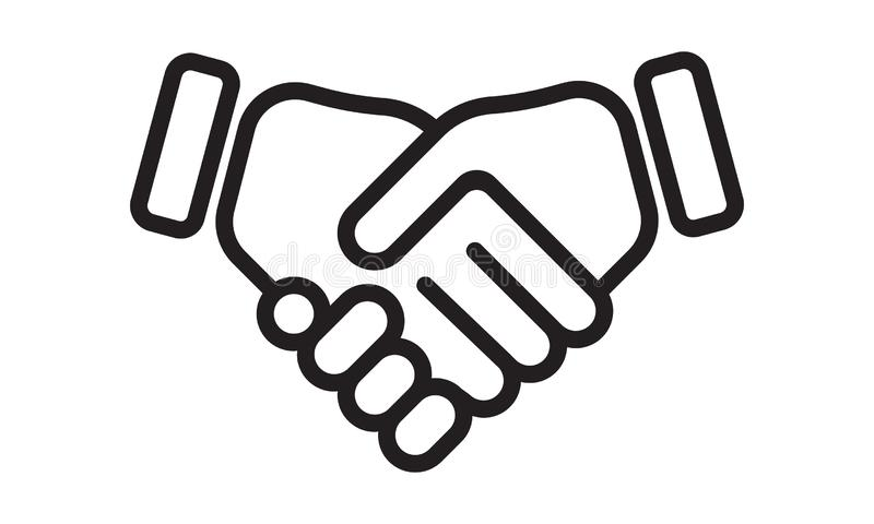 Ręki potrząśnięcia wektoru linii ikona Biznesowy uścisk dłoni, partnerstwo zgoda i przyjaźń, rozdajemy ilustracja wektor