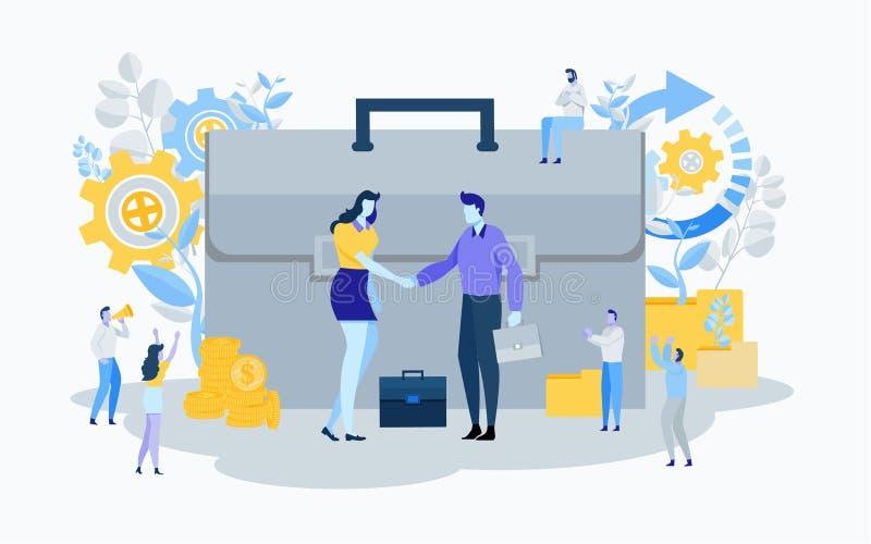 Ręki potrząśnięcie inwestor Biznesowy Pieniężny pojęcie Transakcja, zgoda, pomyślna Płaska kreskówki miniatury ilustracja royalty ilustracja