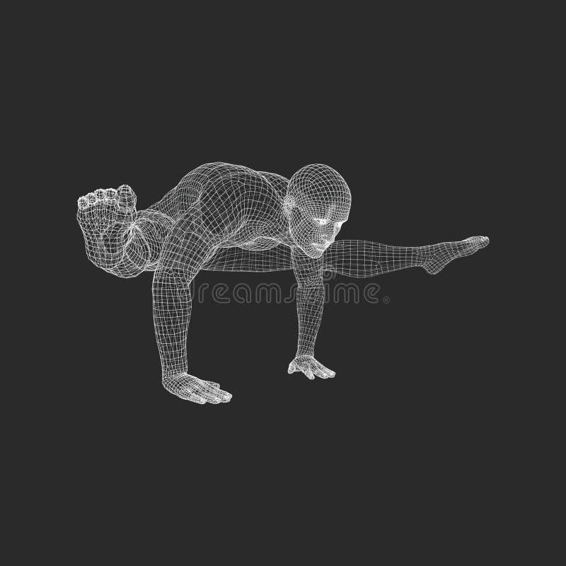 Ręki pozyci poza Mężczyzna robi joga ćwiczeniom - handstand Zdrowy Styl życia Ciała rozciąganie ilustracja wektor