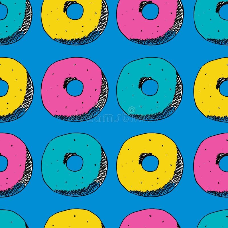 Ręki remisu bezszwowy wzór Barwi donuts, menchie, błękit, kolor żółty również zwrócić corel ilustracji wektora ilustracji