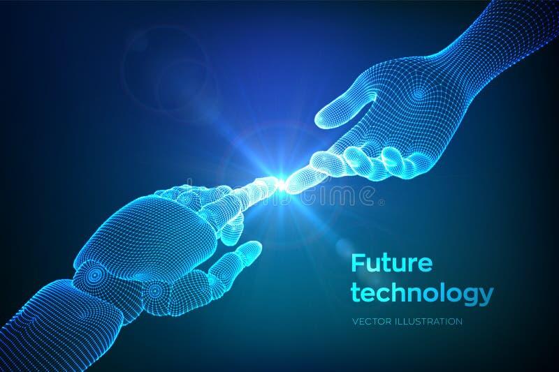Ręki robota i istoty ludzkiej macanie Cyborga palec wokoło dotykać istota ludzka palec Symbol związek między ludźmi i sztuczny royalty ilustracja
