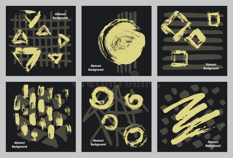 Ręki rysować abstrakt farby markiera i atramentu uderzeń suche szczotkarskie tekstury ilustracja wektor