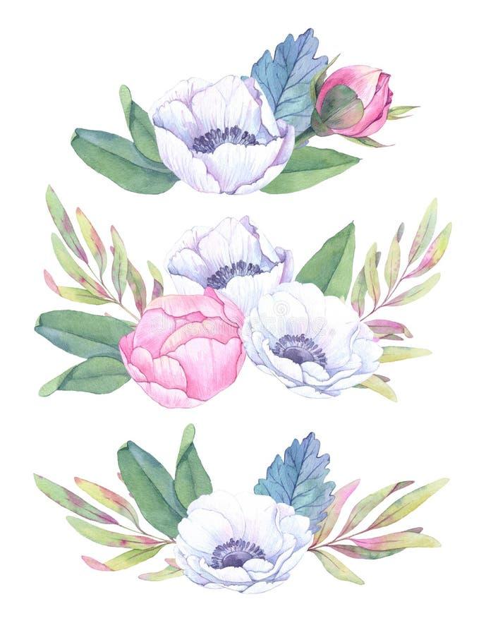 Ręki rysować akwareli ilustracje Bukiety z wiosna liśćmi royalty ilustracja