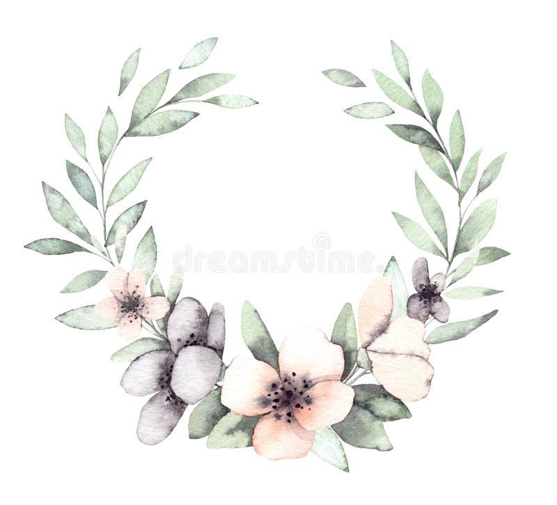 Ręki rysować akwareli ilustracje Wiosna Laurowy wianek z f royalty ilustracja