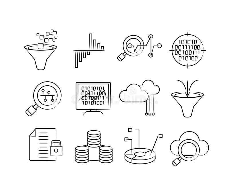 Ręki rysować dane analityka ikony royalty ilustracja