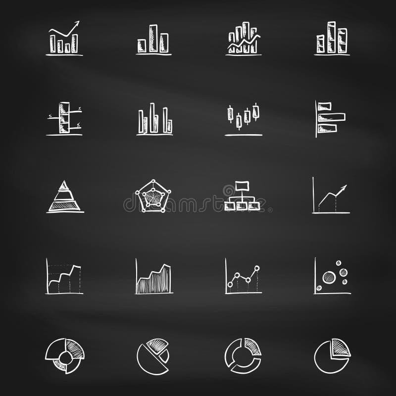Ręki rysować diagram ikony na blackboard royalty ilustracja