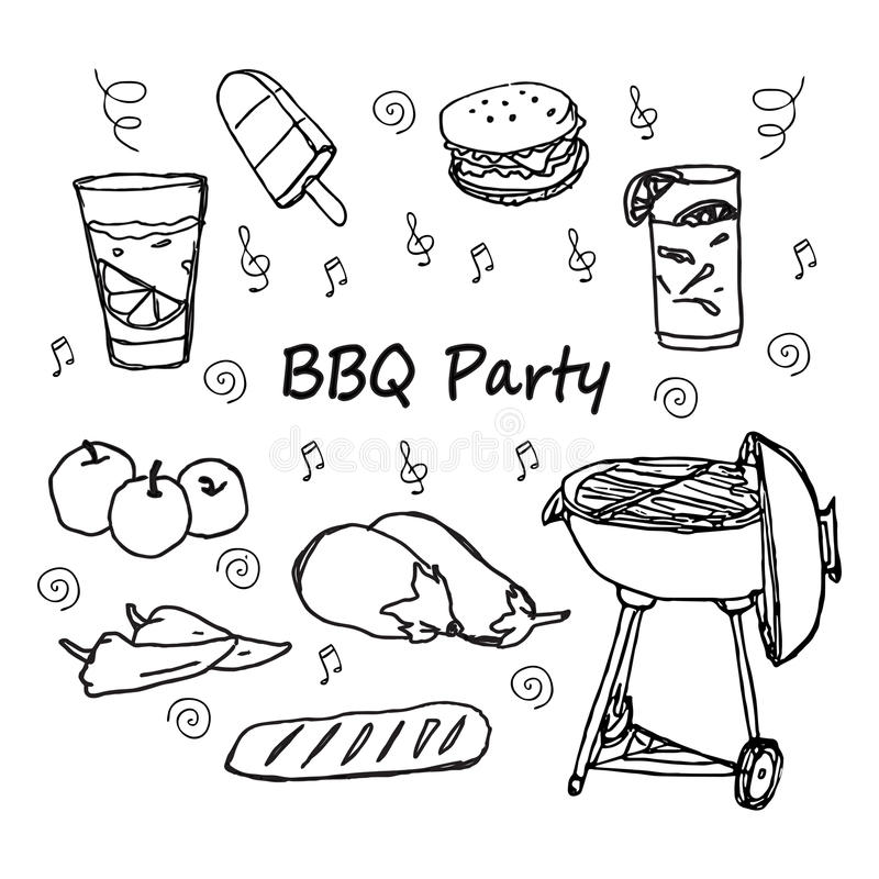 Ręki rysować doodle BBQ przyjęcia ikony ustawiać ilustracji