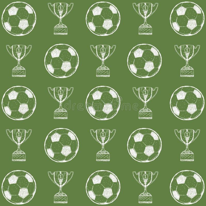 Ręki rysować doodle wzoru piłki nożnej piłki z trofeum na zielonym tle - wektor royalty ilustracja