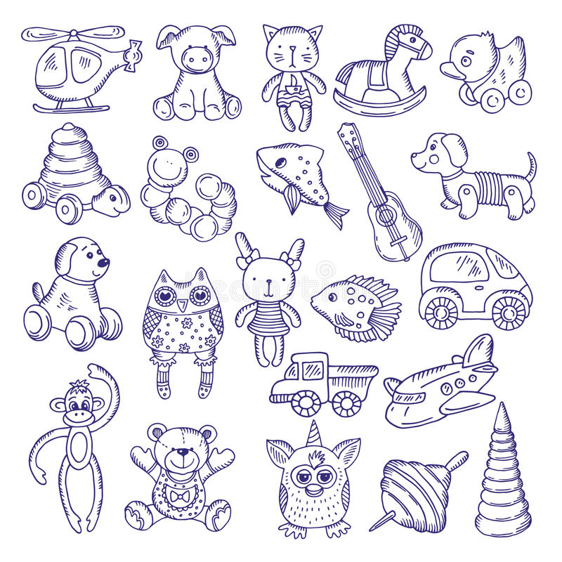 Ręki rysować doodle zabawki dla dzieciaków Wektorów nakreślenia odizolowywają na białym tle royalty ilustracja