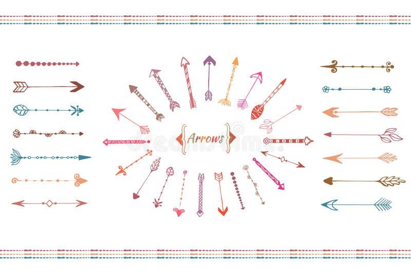 Ręki rysować duże strzała inkasowe Kolorowi etniczni elementy ustawiający Odosobniony wektor ilustracji