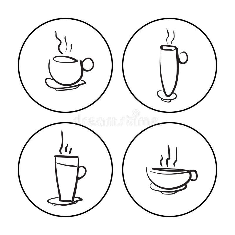 Ręki rysować filiżanki ilustracja wektor