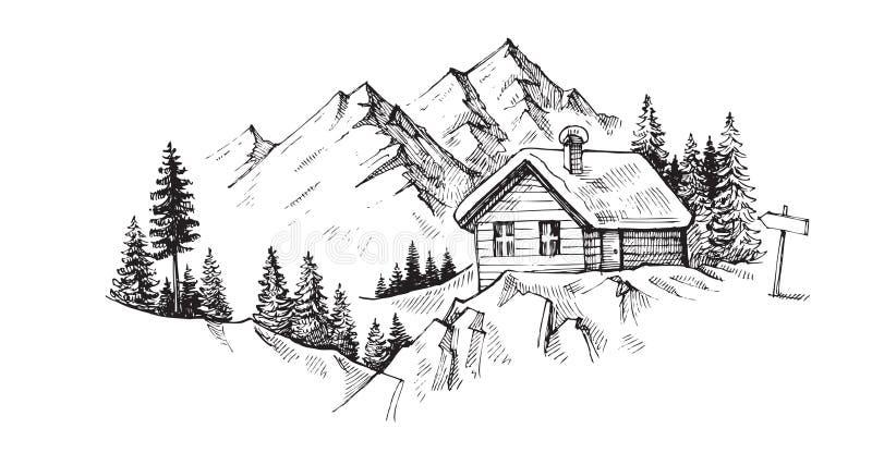 Ręki rysować góry ilustracja wektor