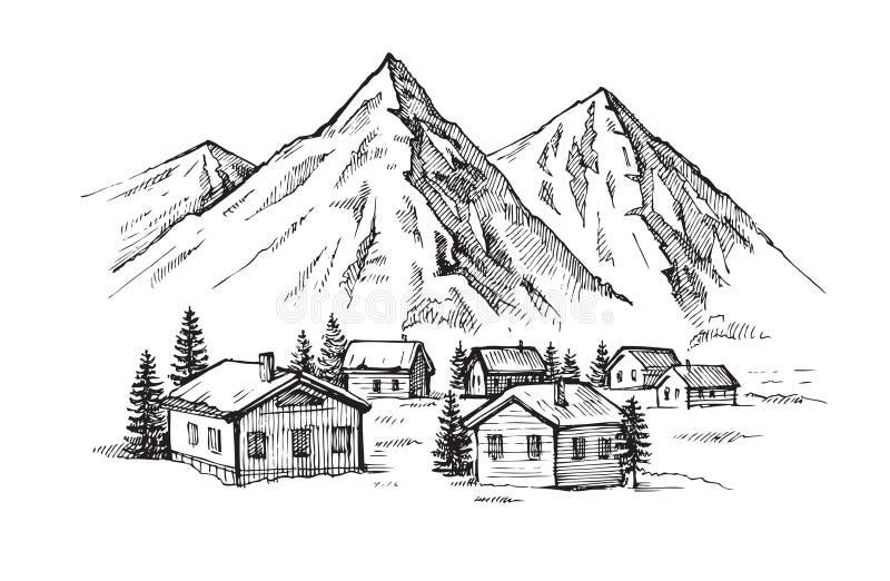 Ręki rysować góry royalty ilustracja