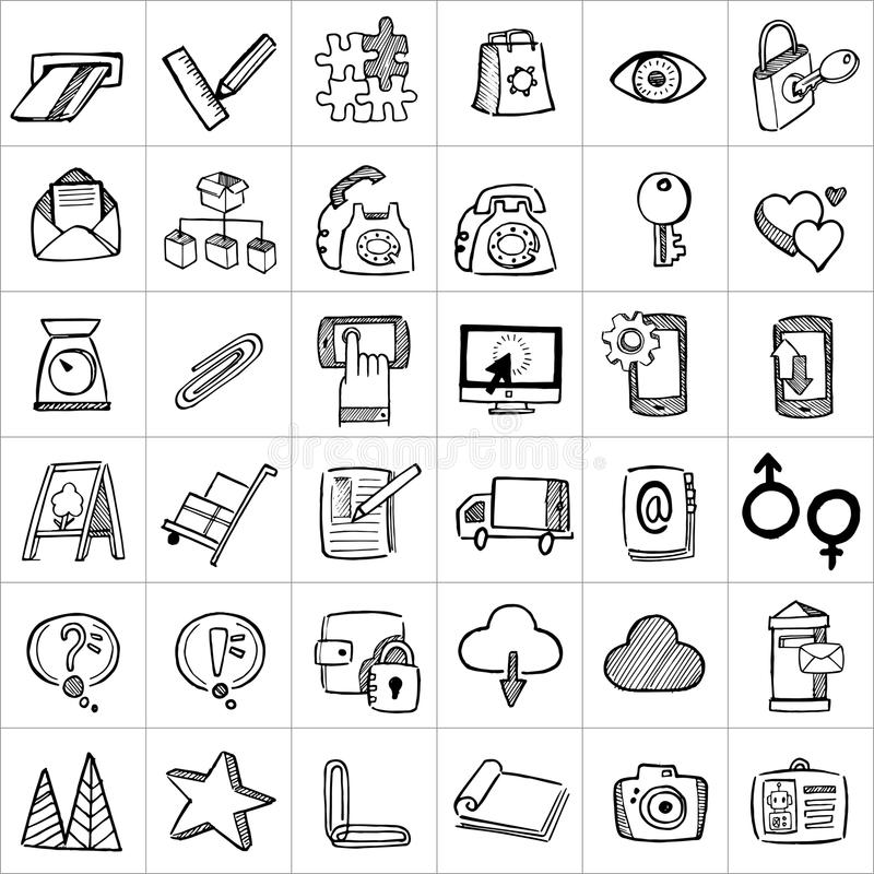 Ręki rysować ikony 005 ilustracja wektor