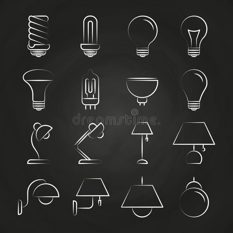 Ręki rysować lampowe ikony inkasowe royalty ilustracja