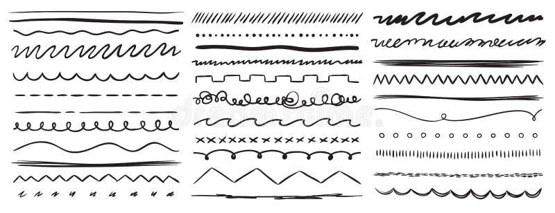 Ręki rysować linie Markiera kreskowy divider, handmade ołówkowy uderzenia muśnięcie i rysunkowych dividers wektorowi elementy ust ilustracja wektor