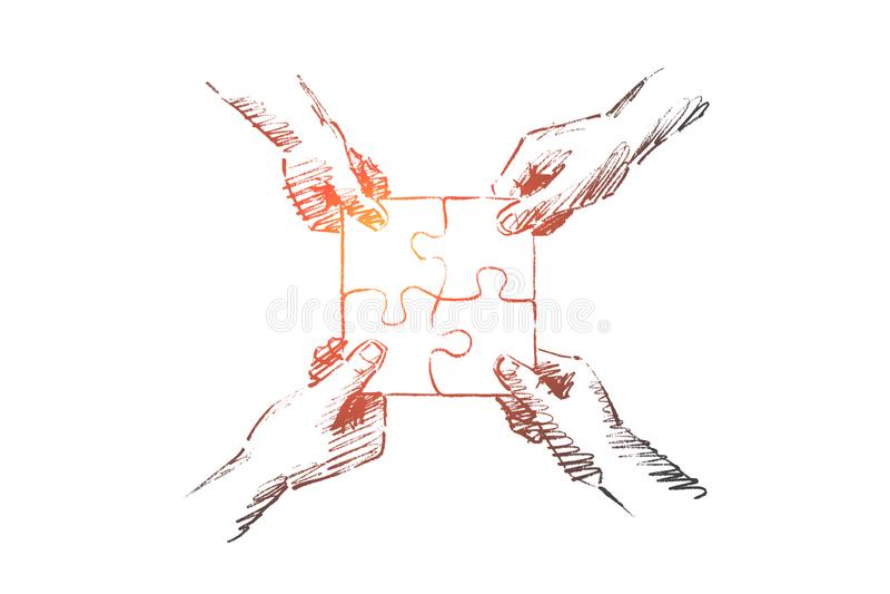 Ręki rysować ludzkie ręki składa łamigłówkę ilustracji