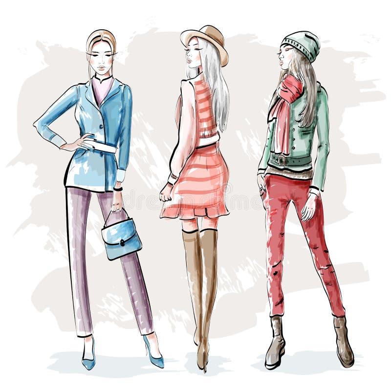 Ręki rysować mod młode kobiety Eleganckie graficzne dziewczyny ustawiać nakreślenie ilustracji