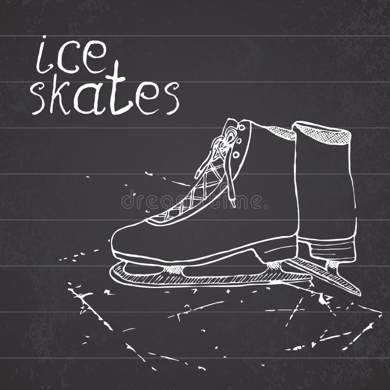 Ręki rysować nakreślenie lodowe łyżwy Rysunkowe sporta doodle elementu zimy sportów rzeczy na chalkboard tle ilustracja wektor