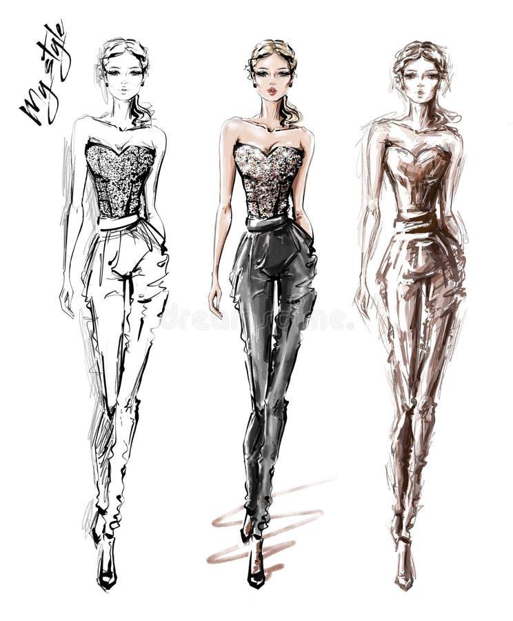Ręki rysować piękne młode kobiety w modzie odziewają eleganckie dziewczyny Mod kobiet spojrzenia nakre?lenie royalty ilustracja