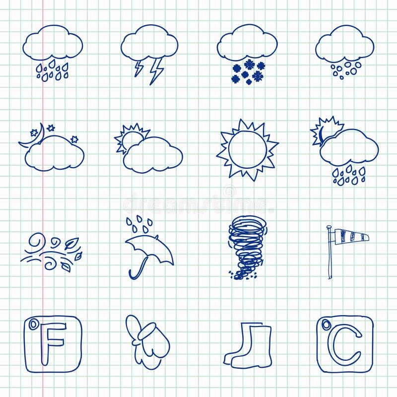 Ręki rysować pogodowe ikony royalty ilustracja