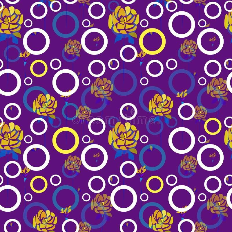 Ręki rysować róże kwitną i okręgi na purpurowym tle royalty ilustracja