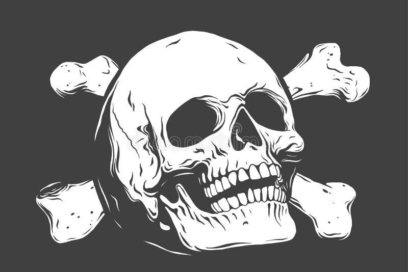 Ręki rysować realistyczne ludzkie kości i czaszka Monochromatyczna wektorowa ilustracja na czarnym tle ilustracji