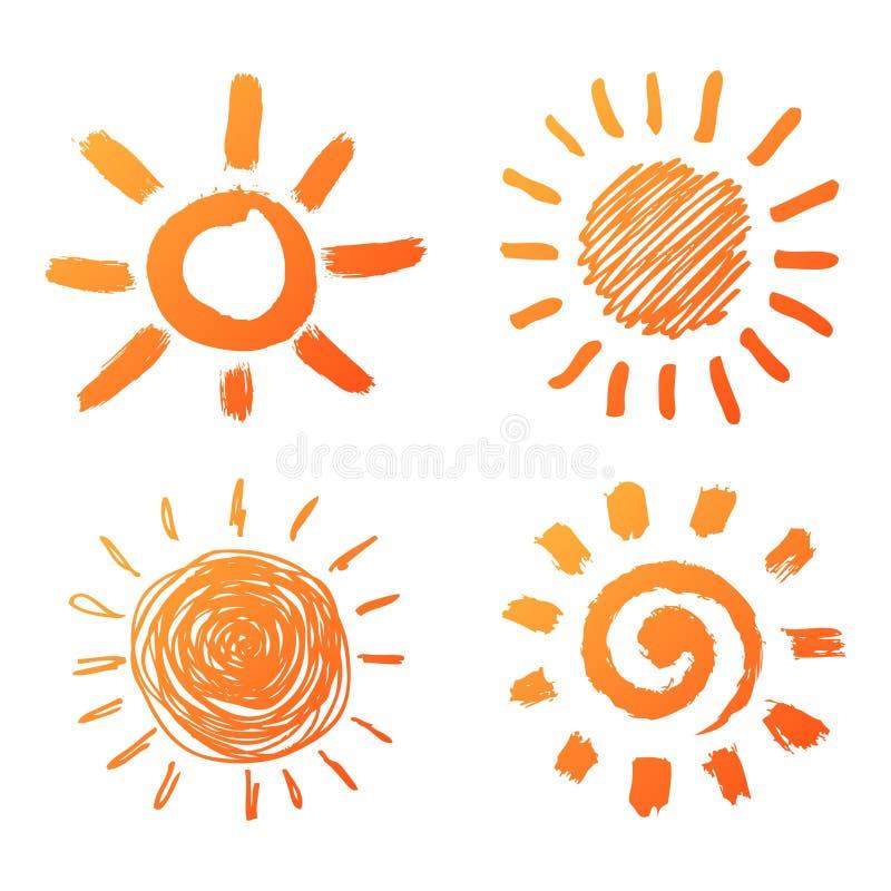 Ręki rysować słońce ikony royalty ilustracja