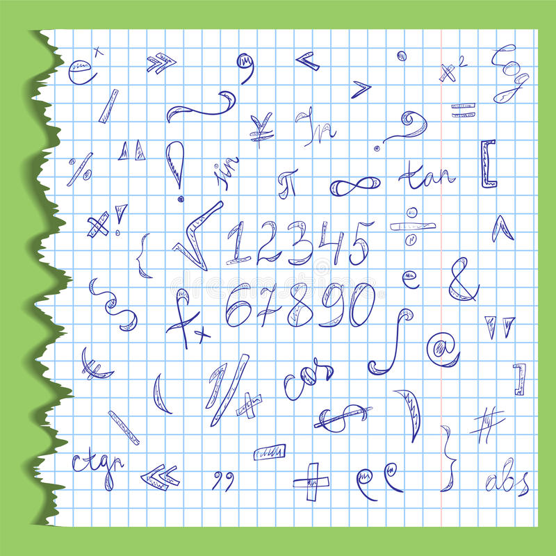 Ręki Rysować skrobaniny Mathematics liczby na Rozdzierającym prześcieradle Copybook w klatce i symbole Doodle styl ilustracja wektor