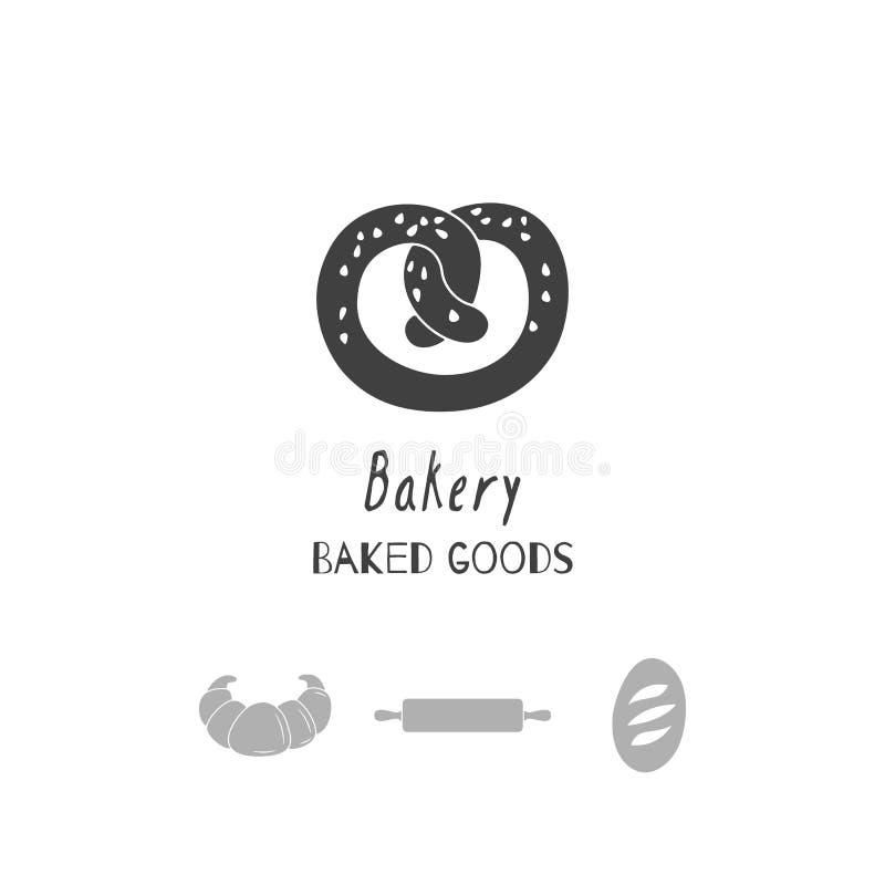 Ręki rysować sylwetki Piekarnia loga szablony dla rzemiosła jedzenia pakować lub gatunek tożsamości ilustracji