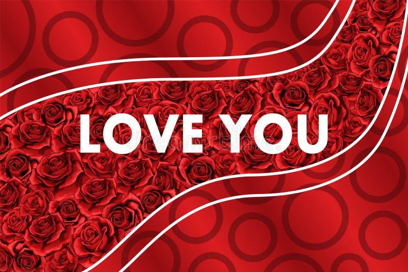Ręki rysować tło kwiatu czerwone róże Walentynka projekta wakacje kartka z pozdrowieniami ilustracja wektor