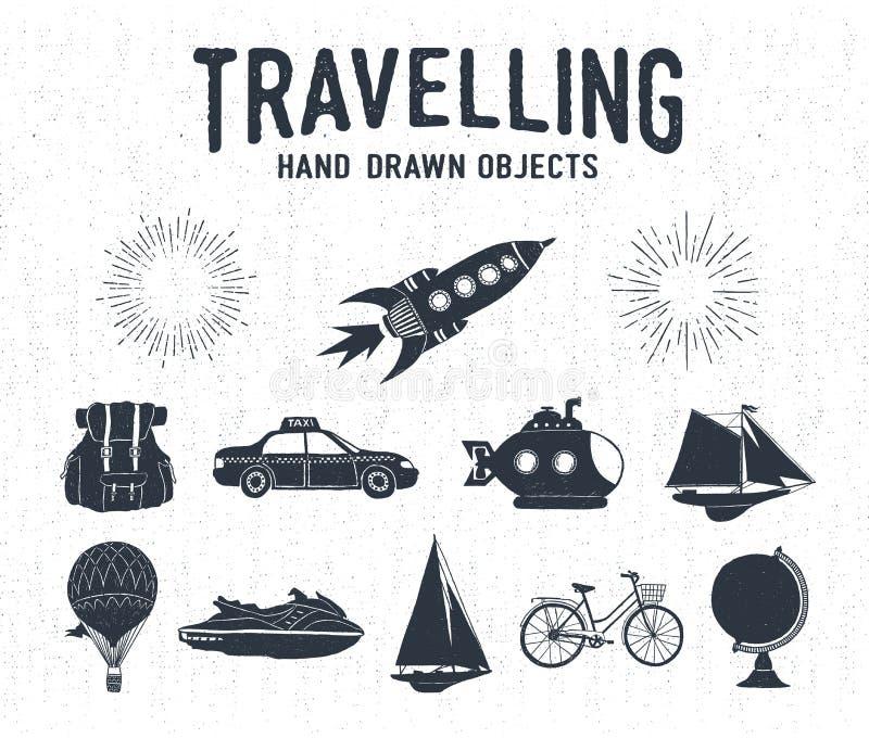 Ręki rysować textured rocznik podróży ikony ustawiać ilustracja wektor