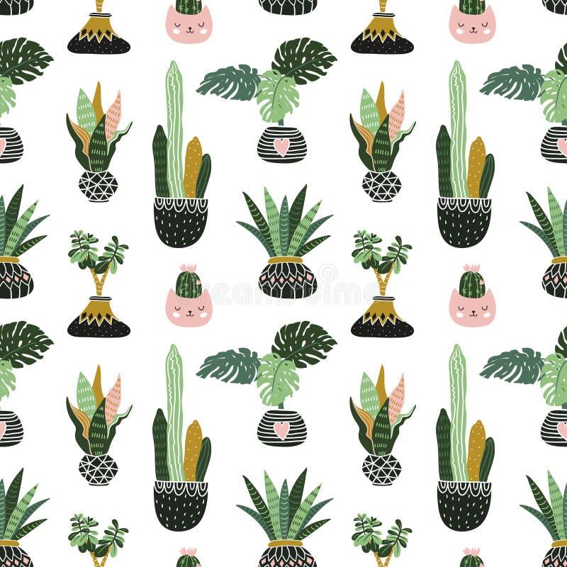 Ręki rysować tropikalne dom rośliny Skandynaw stylowa ilustracja, wektorowy bezszwowy wzór dla tkaniny, tapety lub opakunku papie royalty ilustracja