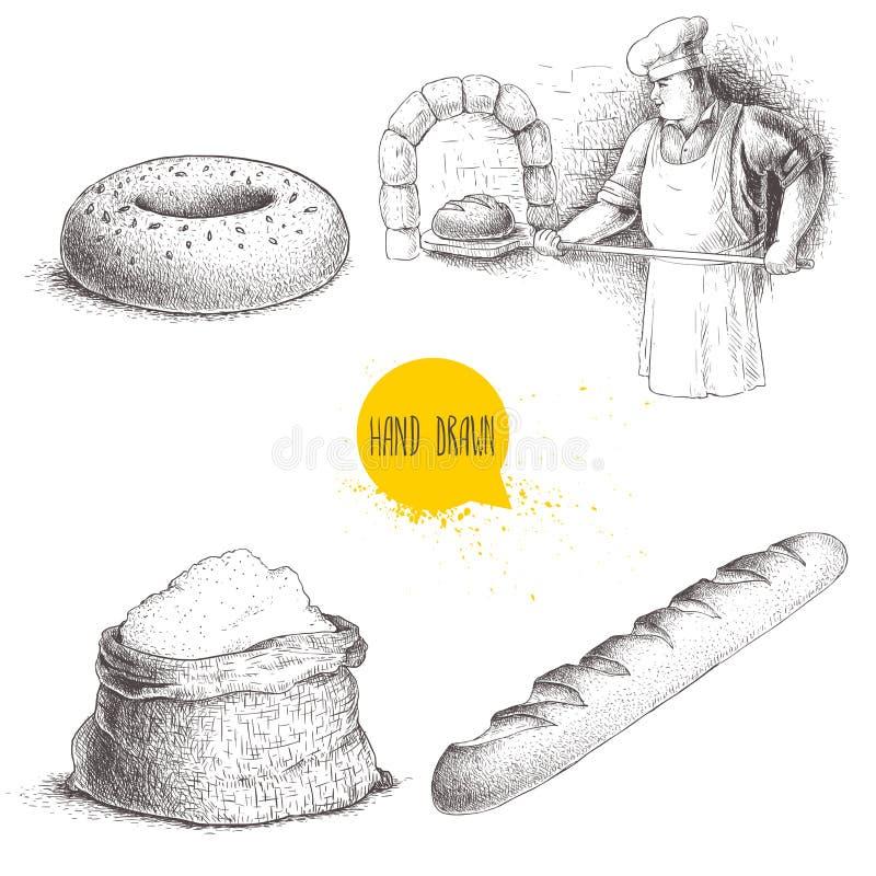 Ręki rysować ustalone piekarni ilustracje Piekarz robi świeżemu chlebowi w kamiennym piekarniku, sezamowy bagel, świeży baguette  royalty ilustracja