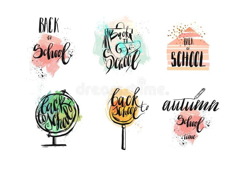 Ręki rysować wektorowe abstrakt szkoły tematu doodle ikony, druki, łat odznaki, ręcznie pisany kaligrafii wycena, znaki i royalty ilustracja